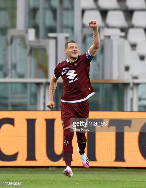 Andrea Belotti of Torino FC celebrates scoring the opening goal during the Serie A match between Torino FC and SS Lazio at Stadio Olimpico di Torino...