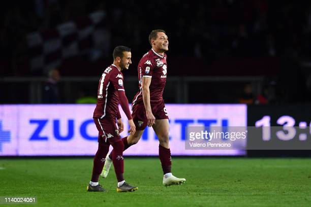 Andrea Belotti of Torino FC celebrates the opening goal from the penalty spot with team mate Alejandro Berenguer during the Serie A match between...