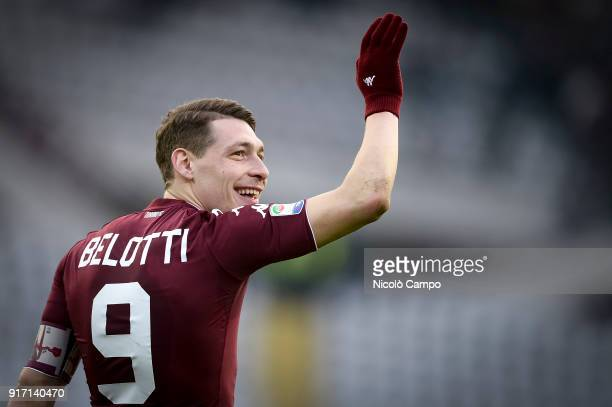 Andrea Belotti of Torino FC celebrates the victory at the end of the Serie A football match between Torino FC and Udinese Calcio Torino FC won 20...