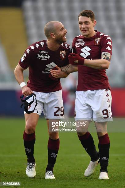 Andrea Belotti of Torino FC celebrates victory with teammate Lorenzo De Silvestri at the end of the Serie A match between Torino FC and Udinese...