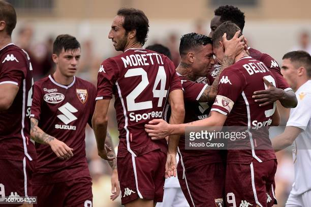 MOCCAGATTA ALESSANDRIA ITALY Andrea Belotti of Torino FC celebrates with his teammates after scoring the opening goal during the friendly football...
