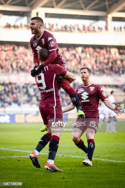 Andrea Belotti of Torino FC celebrates with Iago Falque and Cristian Ansaldi after scoring a goal during the Serie A football match between Torino FC...