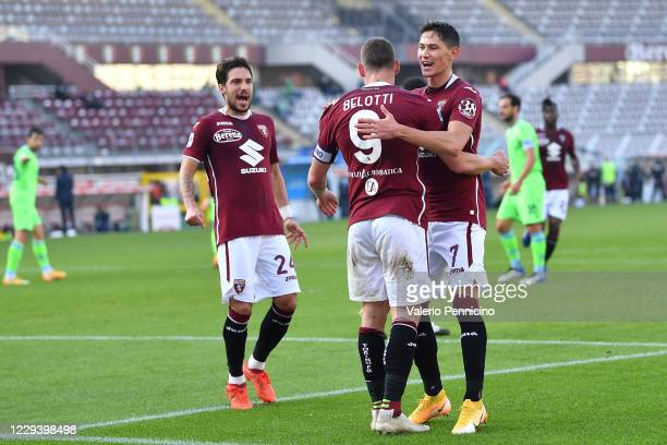 Andrea Belotti of Torino FC celebratres his goal with team mate Sasa Lukic during the Serie A match between Torino FC and SS Lazio at Stadio Olimpico...