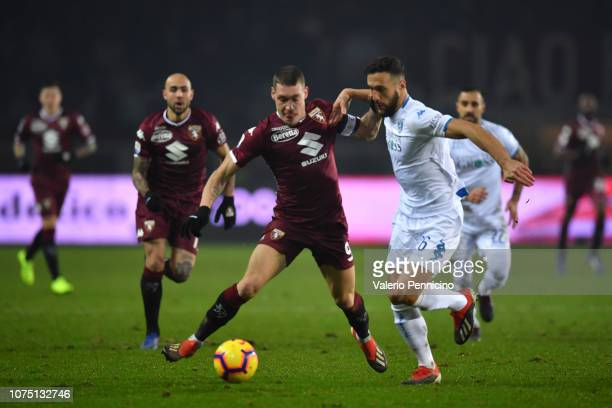 Andrea Belotti of Torino FC competes for the ball with Matias Silvestre of Empoli during the Serie A match between Torino FC and Empoli at Stadio...