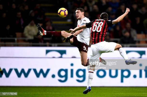 Andrea Belotti of Torino FC competes for the ball with Ricardo Rodriguez of AC Milan during the Serie A football match between AC Milan and Torino FC...