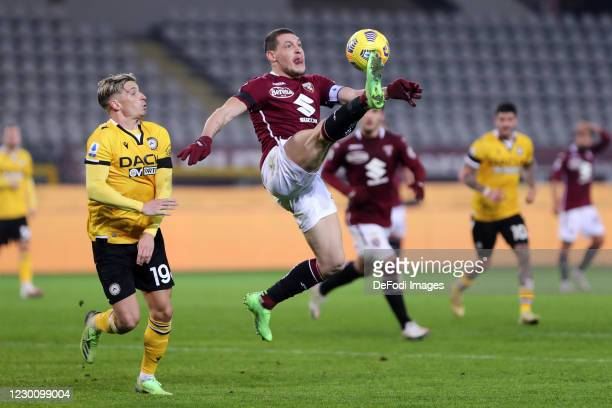 Andrea Belotti of Torino FC controls the ball during the Serie A match between Torino FC and Udinese Calcio at Stadio Olimpico di Torino on December...