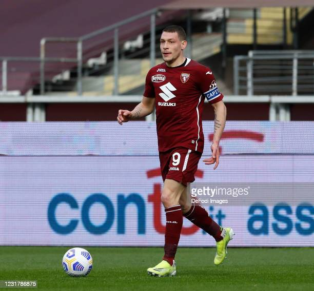 Andrea Belotti of Torino FC controls the ball during the Serie A match between Torino FC and US Sassuolo at Stadio Olimpico di Torino on March 17,...