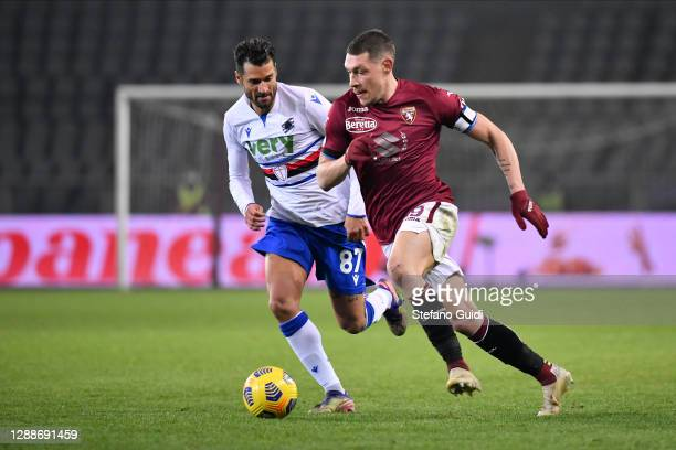 Andrea Belotti of Torino FC controls the ball during the Serie A match between Torino FC and UC Sampdoria at Stadio Olimpico di Torino on November...