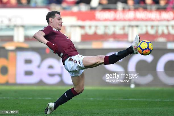 Andrea Belotti of Torino FC controls the ball during the Serie A match between Torino FC and Udinese Calcio at Stadio Olimpico di Torino on February...