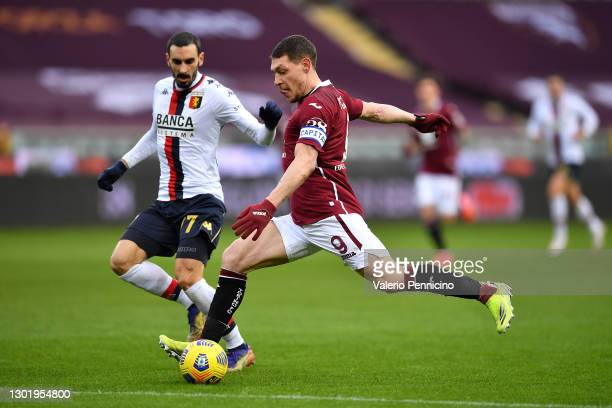 Andrea Belotti of Torino FC crosses the ball during the Serie A match between Torino FC and Genoa CFC at Stadio Olimpico di Torino on February 13,...