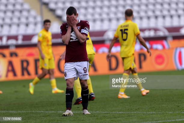 Andrea Belotti of Torino FC disappointed the Serie A match between Torino Fc and Cagliari Calcio Cagliari Calcio wins 32 over Torino Fc