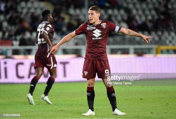 Andrea Belotti of Torino FC gestures during the Serie A match between Torino FC and Frosinone Calcio at Stadio Olimpico di Torino on October 5 2018...