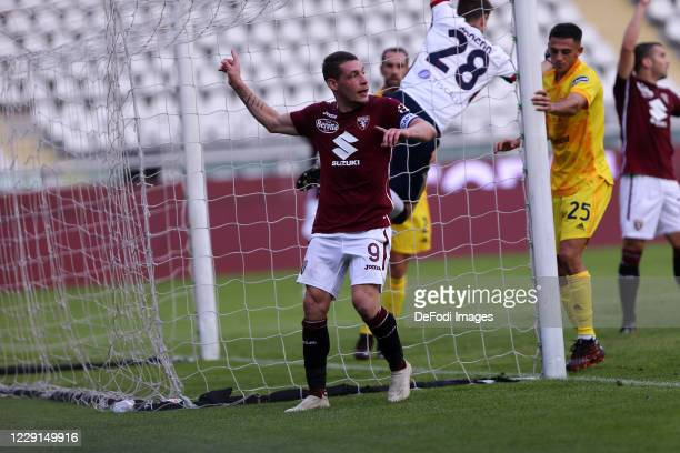 Andrea Belotti of Torino FC gestures during the Serie A match between Torino FC and Cagliari Calcio at Stadio Olimpico di Torino on October 18 2020...