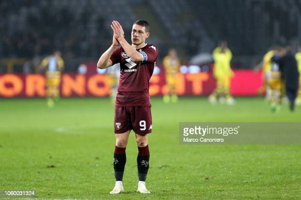 Andrea Belotti of Torino FC greets the fans at the end of the Serie A football match between Torino Fc and Parma Calcio Parma Calcio wins 21 over...