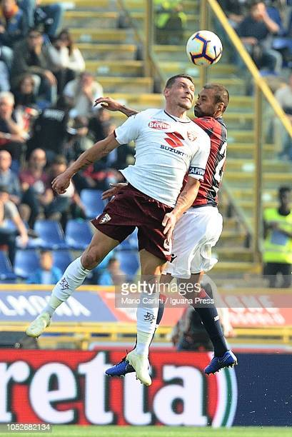 Andrea Belotti of Torino FC heads the ball during the Serie A match between Bologna FC and Torino FC at Stadio Renato Dall'Ara on October 21 2018 in...