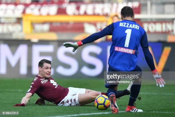 Andrea Belotti of Torino FC in action against Albano Bizzarri of Udinese Calcio during the Serie A match between Torino FC and Udinese Calcio at...