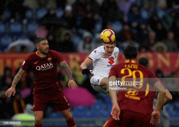 Andrea Belotti of Torino FC in action during the Serie A match between AS Roma and Torino FC at Stadio Olimpico on January 19 2019 in Rome Italy