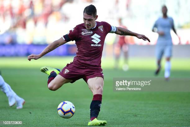 Andrea Belotti of Torino FC in action during the Serie A match between Torino FC and AS Roma at Stadio Olimpico di Torino on August 19 2018 in Turin...