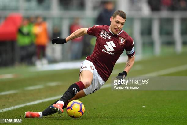 Andrea Belotti of Torino FC in action during the Serie A match between Torino FC and Atalanta BC at Stadio Olimpico di Torino on February 23 2019 in...