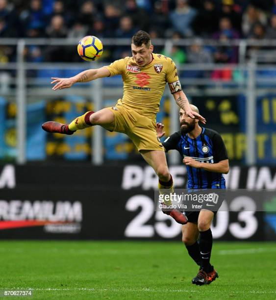 Andrea Belotti of Torino FC in action during the Serie A match between FC Internazionale and Torino FC at Stadio Giuseppe Meazza on November 5 2017...
