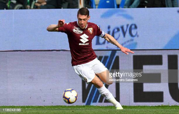 Andrea Belotti of Torino FC in action during the Serie A match between Parma Calcio and Torino FC at Stadio Ennio Tardini on April 6 2019 in Parma...