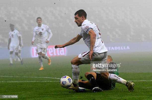 Andrea Belotti of Torino FC in action during the Serie A match between US Sassuolo and Torino FC at Mapei Stadium Città del Tricolore on October 23...