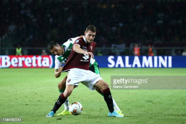 Andrea Belotti of Torino FC in action during the the Serie A match between Torino Fc and Us Sassuolo Calcio. Torino Fc wins 2-1 over Us Sassuolo...