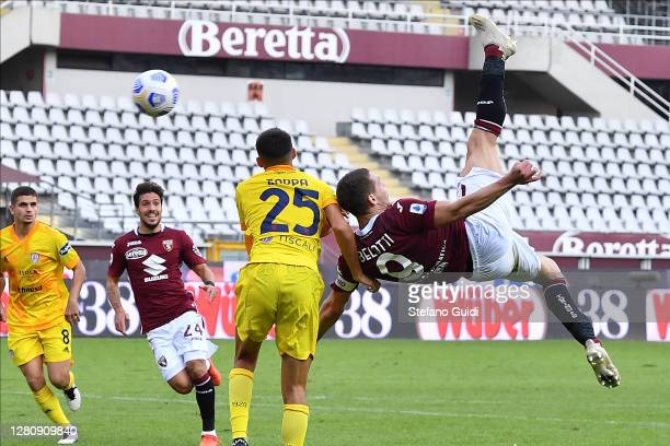 Andrea Belotti of Torino FC kick the ball on shot overturned during the Serie A match between Torino FC and Cagliari Calcio at Stadio Olimpico di...