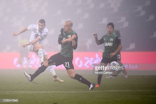 Andrea Belotti of Torino FC kicks the ball during the Serie A football match between US Sassuolo and Torino FC The match ended 33 tie