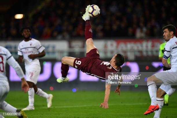 Andrea Belotti of Torino FC kicks the ball in the air during the Serie A match between Torino FC and AC Milan at Stadio Olimpico di Torino on April...