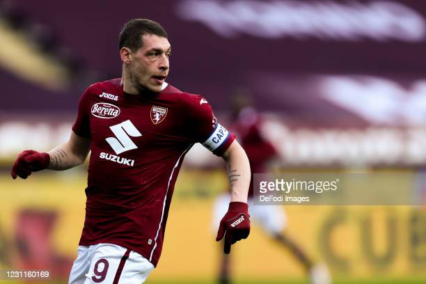 Andrea Belotti of Torino FC look on during the Serie A match between Torino FC and Genoa CFC at Stadio Olimpico di Torino on February 13, 2021 in...