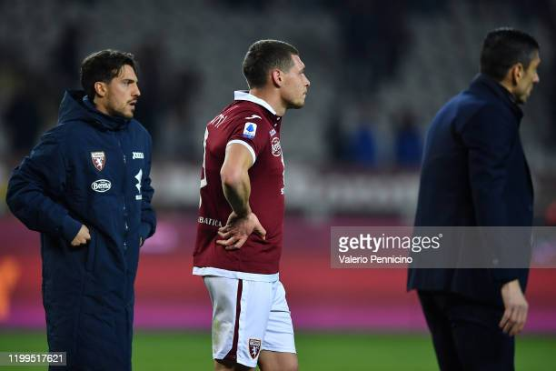 Andrea Belotti of Torino FC looks dejected at the end of the Serie A match between Torino FC and UC Sampdoria at Stadio Olimpico di Torino on...