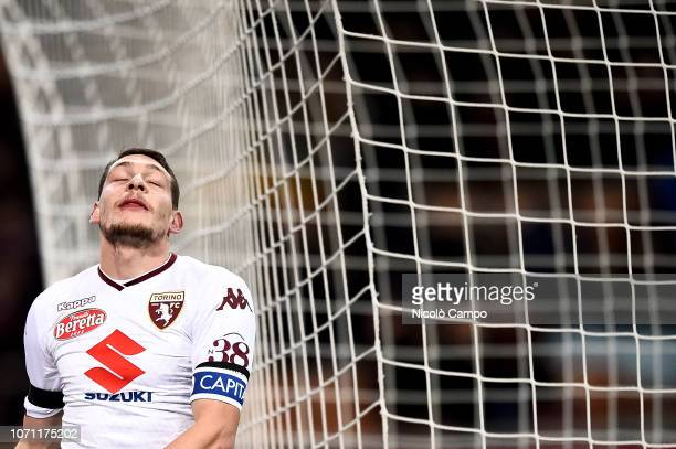 Andrea Belotti of Torino FC looks dejected during the Serie A football match between AC Milan and Torino FC The match ended in a 00 tie