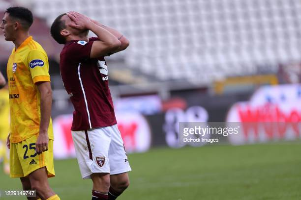 Andrea Belotti of Torino FC looks dejected during the Serie A match between Torino FC and Cagliari Calcio at Stadio Olimpico di Torino on October 18...