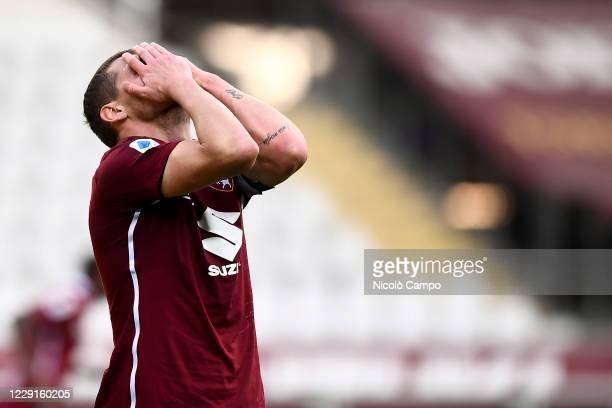 Andrea Belotti of Torino FC looks dejected during the Serie A football match between Torino FC and Cagliari Calcio Cagliari Calcio won 32 over Torino...