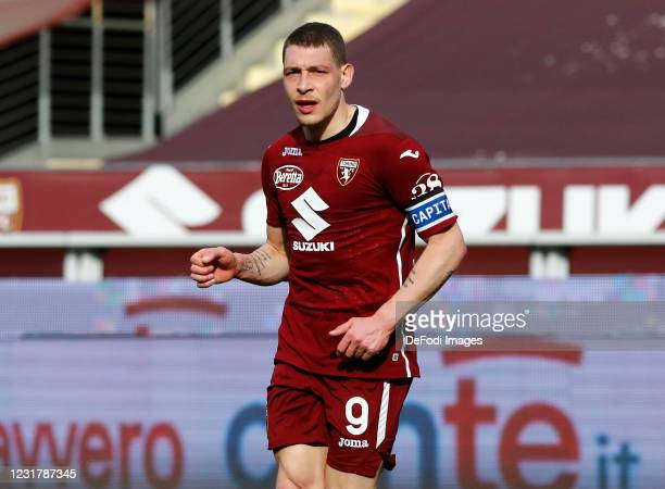 Andrea Belotti of Torino FC looks on during the Serie A match between Torino FC and US Sassuolo at Stadio Olimpico di Torino on March 17, 2021 in...