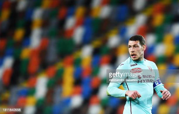 Andrea Belotti of Torino FC looks on during the Serie A match between Udinese Calcio and Torino FC at Dacia Arena on April 10, 2021 in Udine, Italy....