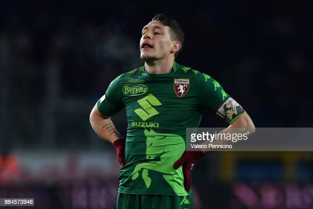 Andrea Belotti of Torino FC looks on during the Serie A match between Torino FC and Atalanta BC at Stadio Olimpico di Torino on December 2 2017 in...