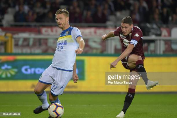 Andrea Belotti of Torino FC pulls the ball during the Serie A match between Torino FC and Frosinone Calcio at Stadio Olimpico di Torino on October 5...