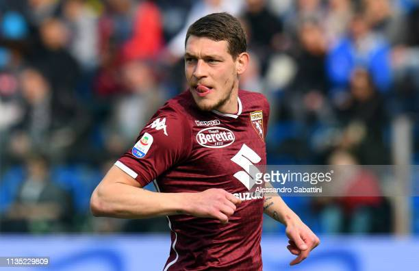 Andrea Belotti of Torino FC reacts during the Serie A match between Parma Calcio and Torino FC at Stadio Ennio Tardini on April 6 2019 in Parma Italy