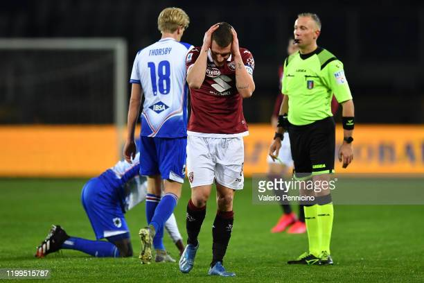 Andrea Belotti of Torino FC reacts during the Serie A match between Torino FC and UC Sampdoria at Stadio Olimpico di Torino on February 8 2020 in...