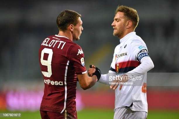 Andrea Belotti of Torino FC salutes Domenico Criscito of Genoa CFC at the end of the Serie A match between Torino FC and Genoa CFC at Stadio Olimpico...