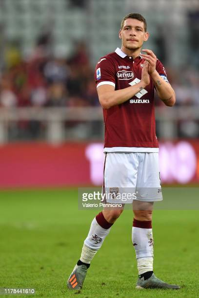 Andrea Belotti of Torino FC salutes the fans at the end of the Serie A match between Torino FC and Cagliari Calcio at Stadio Olimpico di Torino on...