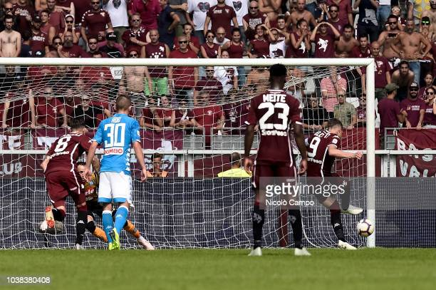 Andrea Belotti of Torino FC scores a goal during the Serie A football match between Torino FC and SSC Napoli SSC Napoli won 31 over Torino FC