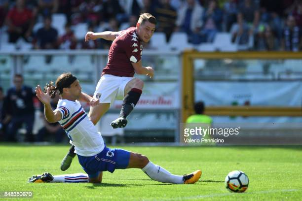 Andrea Belotti of Torino FC scores a goal during the Serie A match between Torino FC and UC Sampdoria at Stadio Olimpico di Torino on September 17...
