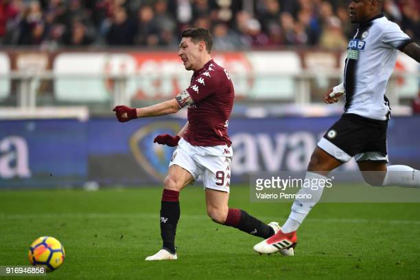 Andrea Belotti of Torino FC scores a goal during the Serie A match between Torino FC and Udinese Calcio at Stadio Olimpico di Torino on February 11...
