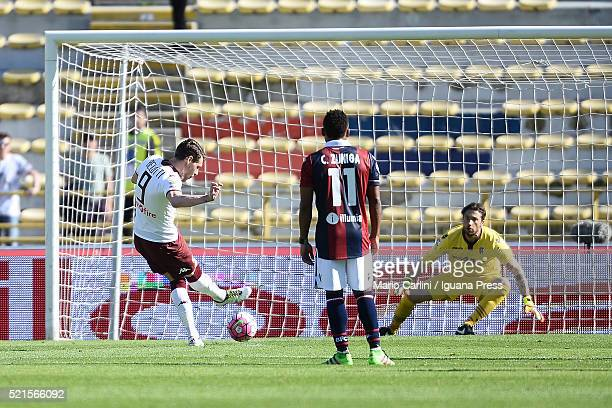 Andrea Belotti of Torino FC scores a goal from the penalty spot during the Serie A match between Bologna FC and Torino FC at Stadio Renato Dall'Ara...