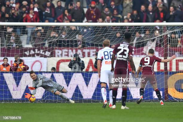 Andrea Belotti of Torino FC scores his goal from the penalty spot during the Serie A match between Torino FC and Genoa CFC at Stadio Olimpico di...