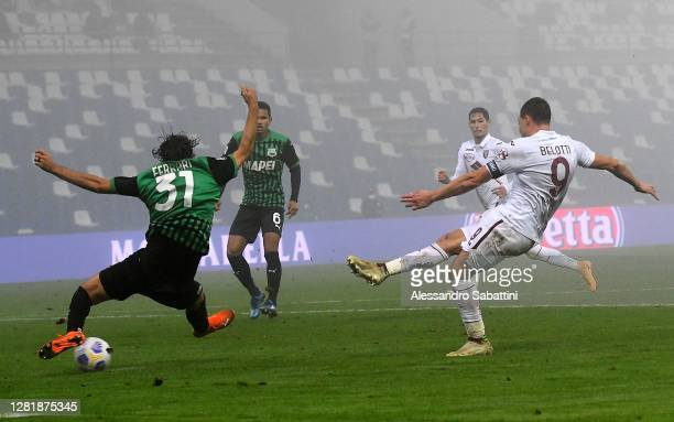 Andrea Belotti of Torino FC scores his team second goal during the Serie A match between US Sassuolo and Torino FC at Mapei Stadium Città del...