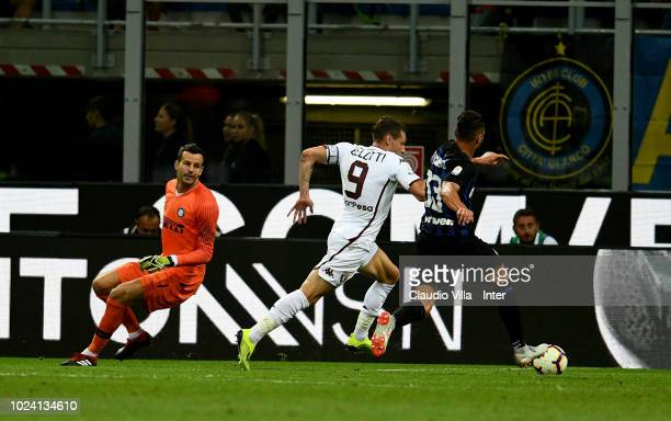 Andrea Belotti of Torino FC scores the first goal during the serie A match between FC Internazionale and Torino FC at Stadio Giuseppe Meazza on...